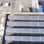 Leeds sports centre drone roof inspection of solar panels