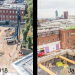 Aerial photography building site progress Leeds