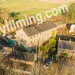 Drone aerial photograph of historic mill building near Harrogate in North Yorkshire